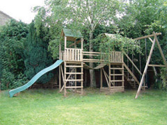 Arundel Twin Wooden Climbing Frame Play Action Tramps UK